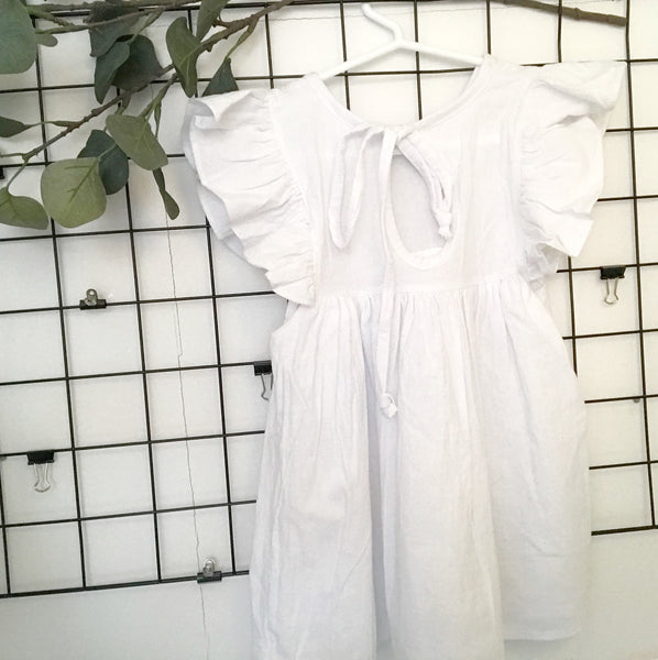 White Frill Sleeve Dress