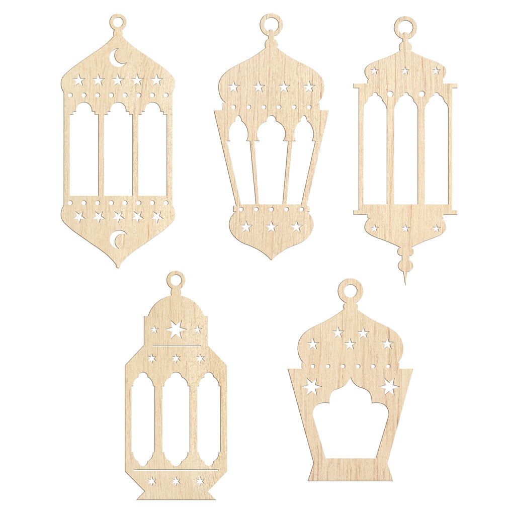 Ramadan and Eid Mubarak Lanterns, pack of 5 - Noor al-Ilm