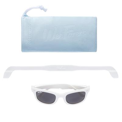 Original WeeFarers Baby Sunglasses White Pouch Strap