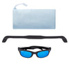 Polarized WeeFarers Baby Sunglasses Black and Ocean Blue with strap and pouch