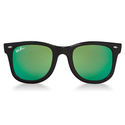 Polarized WeeFarers Baby Sunglasses Black and Sea Green front