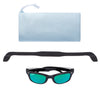 Polarized WeeFarers Baby Sunglasses Black and Sea Green with strap and pouch