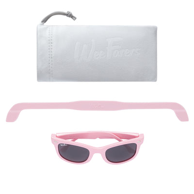 Polarized WeeFarers Baby Sunglasses Pink Strap Pouch