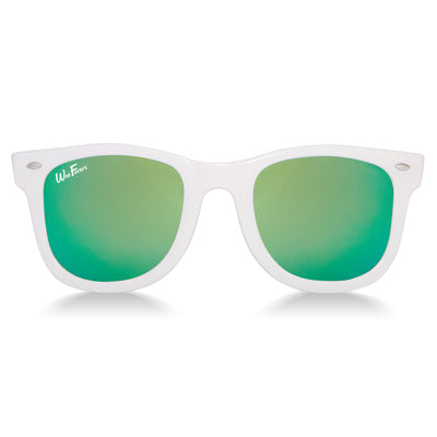 Polarized WeeFarers Baby Sunglasses White and Sea Green front