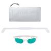 Polarized WeeFarers Baby Sunglasses White and Sea Green with strap and pouch