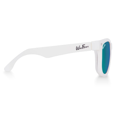 Polarized WeeFarers Baby Sunglasses White and Sea Green side