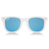 Polarized WeeFarers Baby Sunglasses White and Sky Blue Front