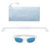 Polarized WeeFarers Baby Sunglasses White and Sky Blue with strap and pouch