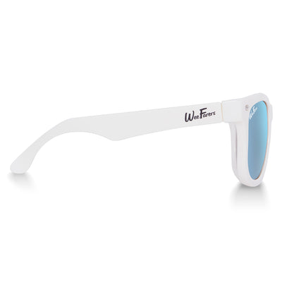 Polarized WeeFarers Baby Sunglasses White and Sky Blue side