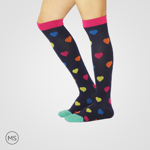 Hearts with Pink Band  - Compression Socks