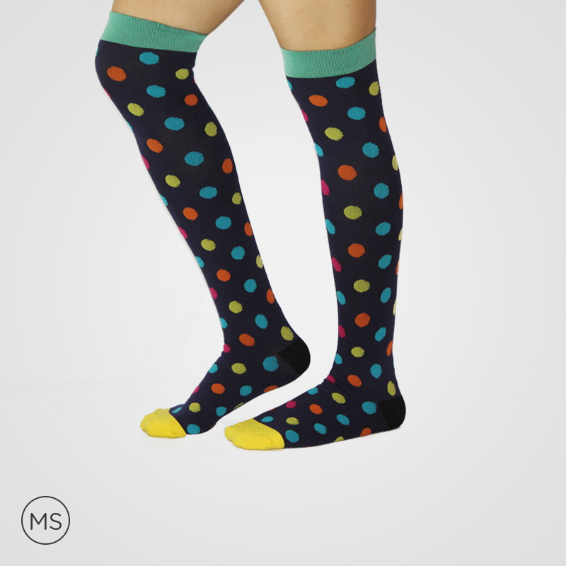 Rainbow Dots  Green - Compression Socks
