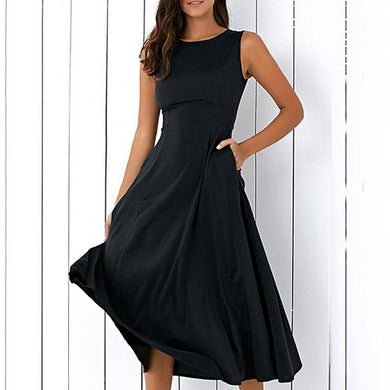 Round Neck  Pleated Bodice Skater Dress