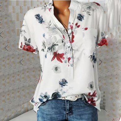 Stand Collar Short Sleeve Flower Print Loose Shirt