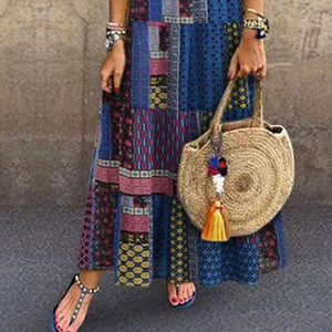 Bohemian Splicing Round Neck Sleeveless Maxi Dress
