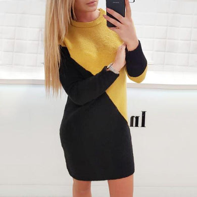 Fashionable Casual   Knit Sweater Mini Dresses In Mixed Colors