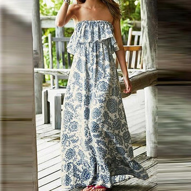 Flash Sale Bohemian Off-Shoulder Printing Strap Vacation Dress