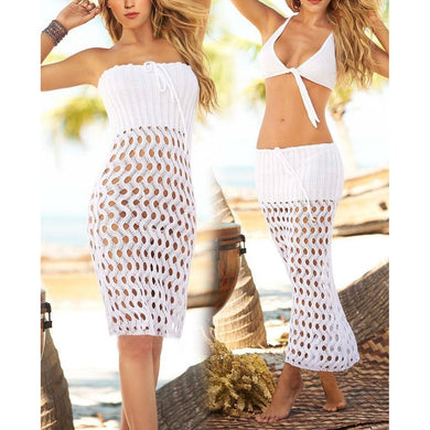 Hollow Knitted Mesh Coverall  Sunscreen Beach Skirt Dress