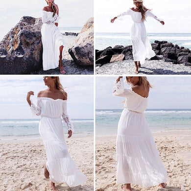 Fashion Lace Off Shoulder Vacation Dress