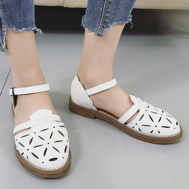 Hollow Out  Flat  Ankle Strap  Round Toe  Casual Outdoor Flat Sandals