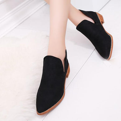 Plain  Flat  Velvet  Point Toe  Outdoor Ankle Boots