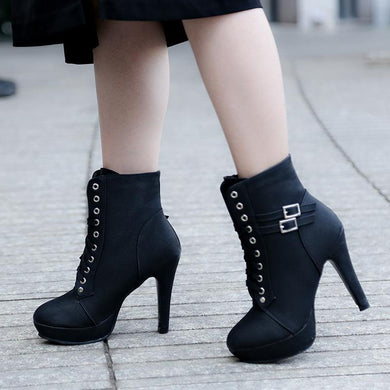 Lace-Up Round-Toe Stiletto Martin Boots