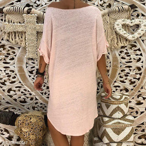 Round Neck Half Sleeve Plain Mini Dress