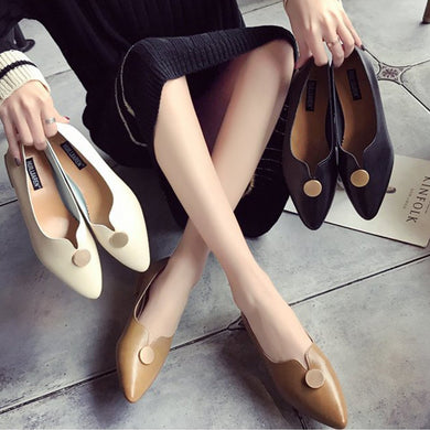 Fashion Pointed Thick Heel Women's Flats Shoes