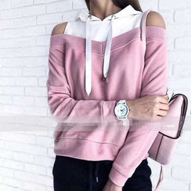 Hooded Patchwork Color Block Hollow Out Long Sleeve Hoodies