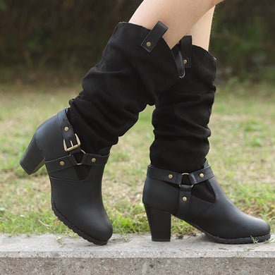 Fashion Buckle Belt Pure Color High Boots