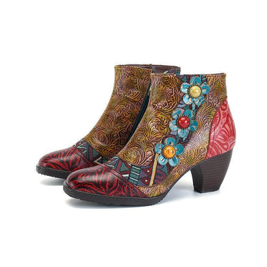 Casual Vintage Ethnic-Style Leather Women Boots
