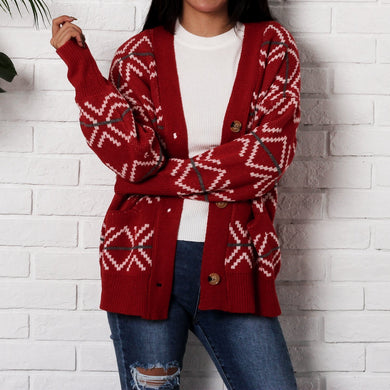 New Christmas Thickened Loose Knit Cardigan