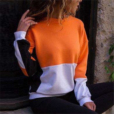 Casual Splicing Candy   Color Contrast Color Sweater