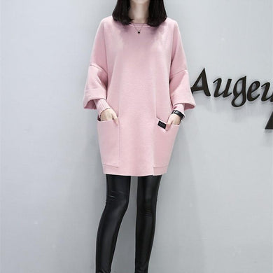 Casual Round Collar   Wide Size Long Sleeved Blouse Fleece