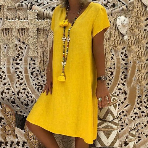 Solid Color Short Sleeved V Neck Mini Dress