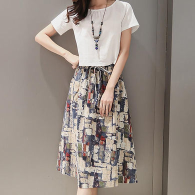 Casual Loose Plus Size   Retro Printing T Shirt With Skirt Two Piece Suit