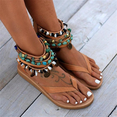 2019 Open Toed Faux Jewels Decorated Flat Sandal