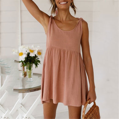 Daily Round Collar Plain Strappy Loose Dress