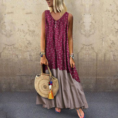 Sexy Round-Neck Bohemian Sleeveless Print Maxi Dress