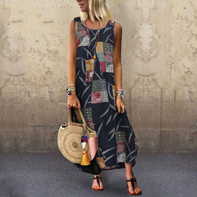 Sexy Round Neck Sleeveless Print Sling Dress