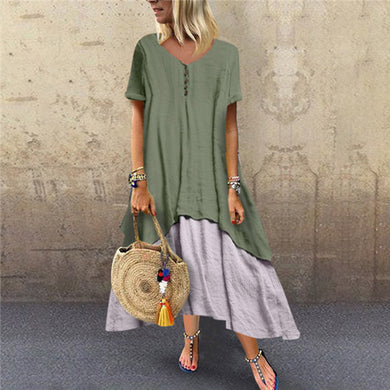 Fashion Stitching Flax Short Sleeves Casual Dresses
