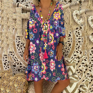 Fashion V Collar Printing Casual Dresses