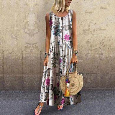 Fashion Botanical Jacquard Sleeveless Casual Maxi Dresses