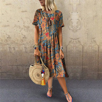 Fashion Short Sleeve Printing Casual Dresses