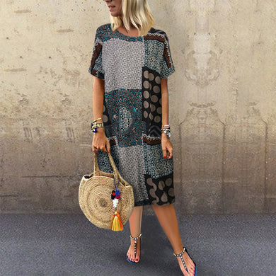 Bohemian Round Neck Printed Colour Halflong Sleeve Patch Pocket Dress