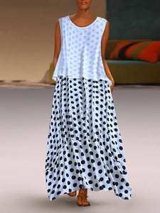 Fashion Polka Dot Round Neck Sleeveless Dresses