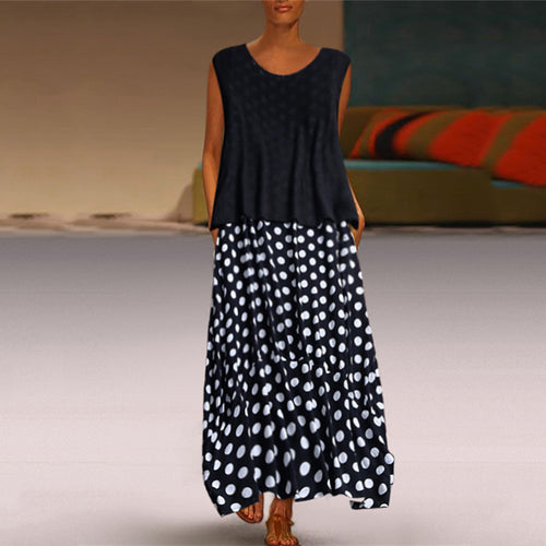 Fashion Polka Dot Round Neck Sleeveless Maxi Dresses