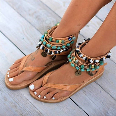 Fashion Retro   Beaded Back Zip Flat Sandals