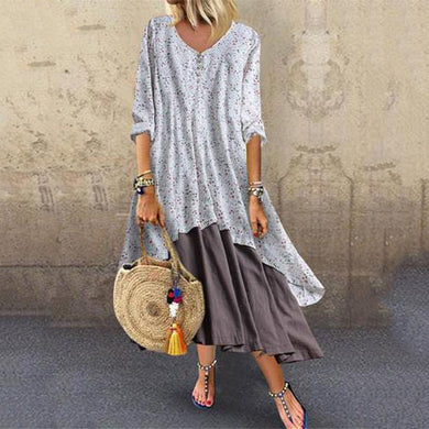 Fashion Printed Two-Piece Stitching Long-Sleeved Casual Maxi Dresses