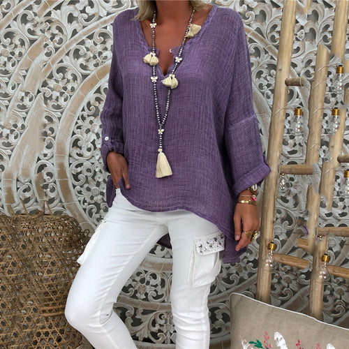 Stylish Solid Color Linen V-Neck Long-Sleeved T-Shirts