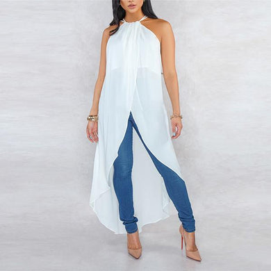 Sexy Sleeveless Chiffon Vacation Irregular Casual Blouse